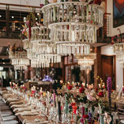Glass Chandelier and table Setting