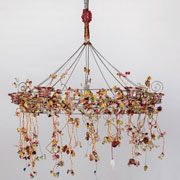 Aonani Pink Wire & Beads Chandelier