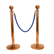 Blue Stanchion Rope With Copper Clasp