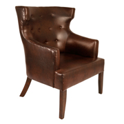 Brown Chavier Wingback Single Seater Couch