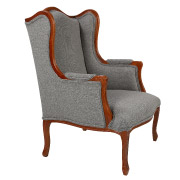 Grey French Wingback Single Seater Couch