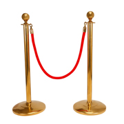 Red Stanchion Rope With Gold Clasp