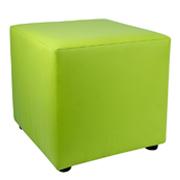 Green Leather Box Ottoman