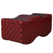 Red and Black Leather Wavy Ottoman