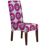 Pink Geometric Patterned Colourful Dining Chair