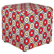 Red African Print Ottoman