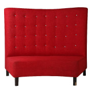 Red Curved Booth Fullback Double Seater Couch