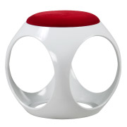 White & Red Plastic Ottoman