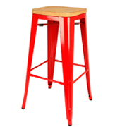 Red Xavier Barstool With Wooden Seat