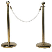 White Stanchion Rope With Gold Clasp
