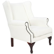 White Traditional Wingback Single Seater Couch
