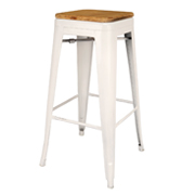 White Xavier Barstool With Wooden Seat