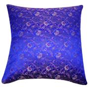 Asian Brocade Cushion Cover Royal Blue