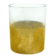 Cylinder Candle Votive Glitter Dipped Gold