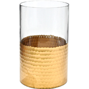 Glass and Yellow Gold Hurricane Vase Large