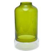 Green Hurricane Vase and Glass Base