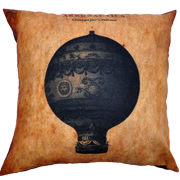 Steampunk Cushion Cover Montgolfiers Balloon