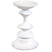 Wooden Candle Holder White Small