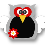 Flower Power Owl Black