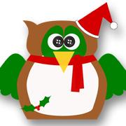 Holly Christmas Owl Brown