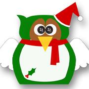 Holly Christmas Owl Green