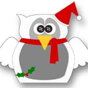 Holly Christmas Owl White