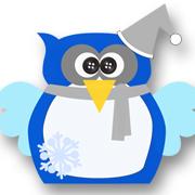 Snowflake Christmas Owl Blue