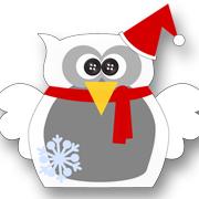 Snowflake Christmas Owl White